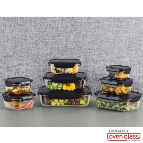 LOCK & LOCK Oven Glass Food Storage Containers 8 Piece Set with Lids